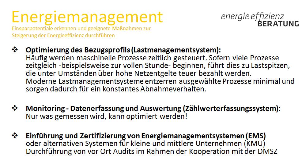 2.2.1.1 Leistungen Energiemanagement