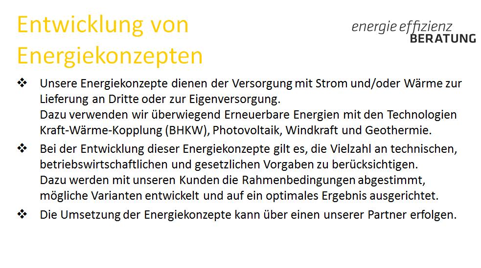 2.3a Leistungen Entwicklung von Energiekonzepten